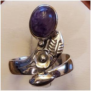Genuine 2ct Siberian Charoite Art Ring Size 7